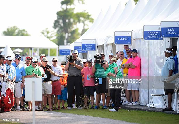 David Duval hits a shot on the 18th hole during the second round of the Zurich Classic of New Orleans at TPC Louisiana on April 25 2014 in New...
