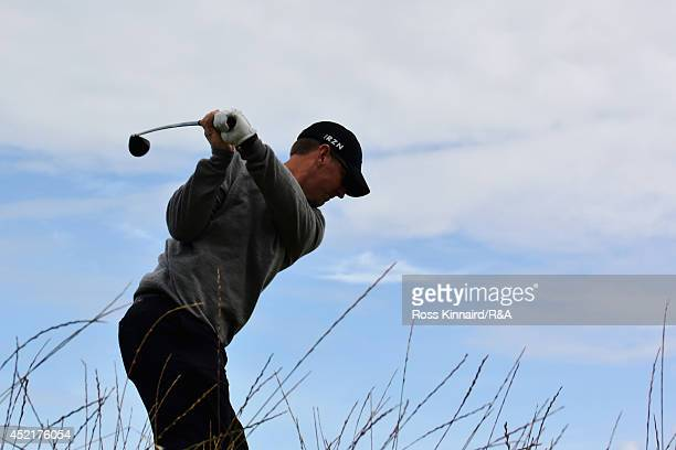 David Duval of the United States hits a tee shot during a practice round prior to the start of The 143rd Open Championship at Royal Liverpool on July...