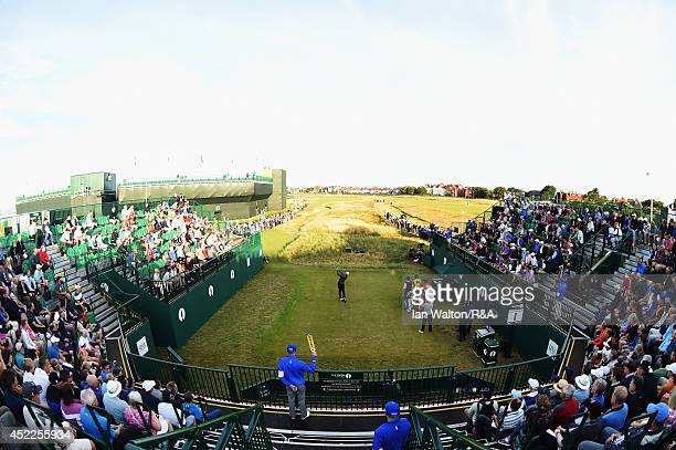 David Duval of the United States hits a tee shot on the first hole during the first round of The 143rd Open Championship at Royal Liverpool on July...