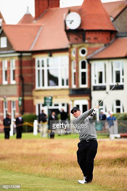 David Duval of the United States hits an approach shot during a practice round prior to the start of The 143rd Open Championship at Royal Liverpool...