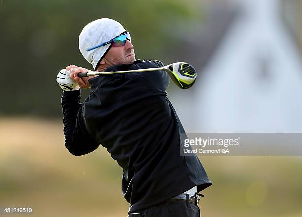 David Duval of the United States hits his tee shot on the 17th hole during the second round of the 144th Open Championship at The Old Course on July...