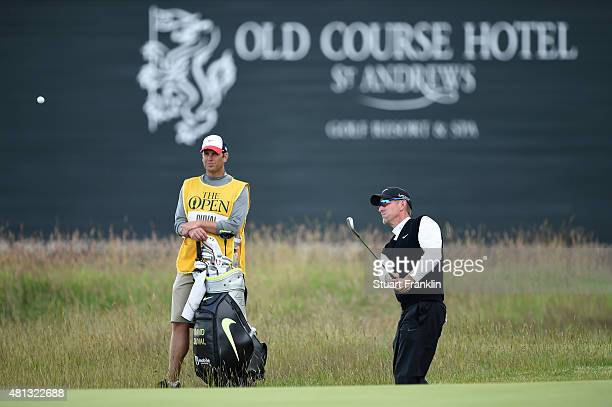 David Duval of the United States plays a shot on the 16th hole during the third round of the 144th Open Championship at The Old Course on July 19...