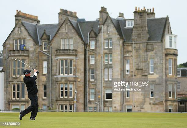 David Duval of the United States plays his second shot on the 1st hole during the third round of the 144th Open Championship at The Old Course on...