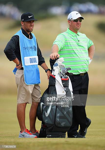 David Duval of the United States stands with his cabbie ahead of the 142nd Open Championship at Muirfield on July 16 2013 in Gullane Scotland