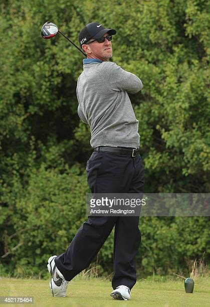 David Duval of the United States tees off during a practice round prior to the start of The 143rd Open Championship at Royal Liverpool on July 15...