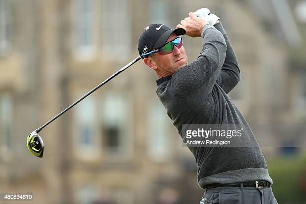 David Duval of the United States tees off on the 2nd hole during the first round of the 144th Open Championship at The Old Course on July 16 2015 in...