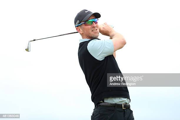 David Duval of the United States tees off on the 6th hole during the final round of the 144th Open Championship at The Old Course on July 20 2015 in...