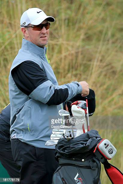 David Duval of the United States waits to play on the second tee during a practice round at Kingsbarns for the 2013 Alfred Dunhill Links Championship...