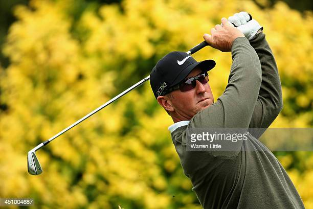 David Duval of the USA tees off on the 17th hole during the first round of the South African Open Championship at Glendower Golf Club on November 21...