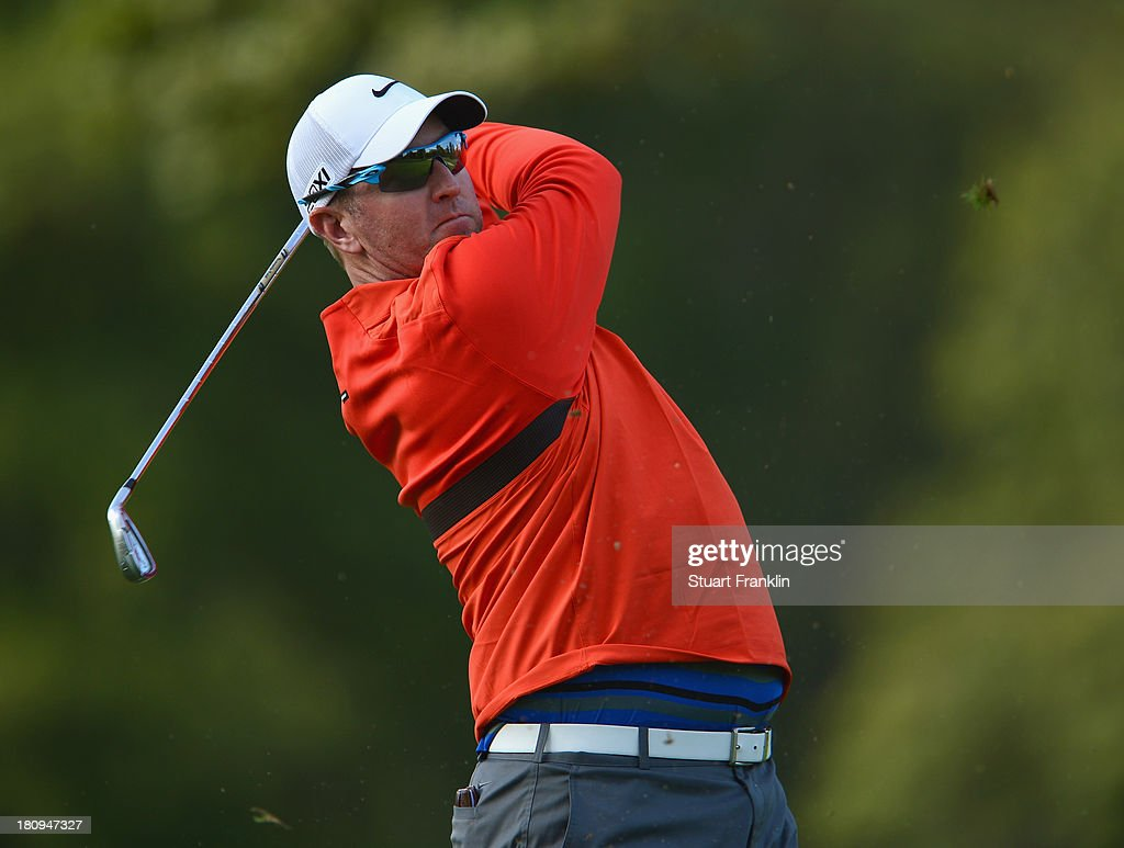 <a gi-track='captionPersonalityLinkClicked' href=/galleries/search?phrase=David+Duval&family=editorial&specificpeople=202132 ng-click='$event.stopPropagation()'>David Duval</a> of USA plays a shot during the pro-am prior to the start of the Italian Open golf at Circolo Golf Torino on September 18, 2013 in Turin, Italy.