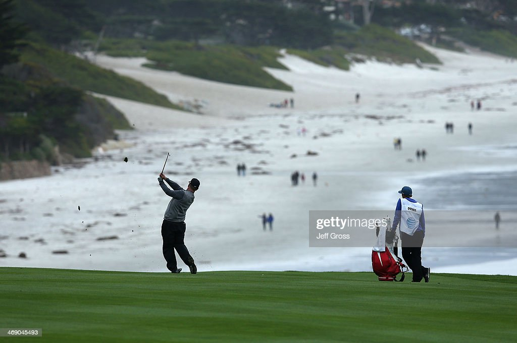 <a gi-track='captionPersonalityLinkClicked' href=/galleries/search?phrase=David+Duval&family=editorial&specificpeople=202132 ng-click='$event.stopPropagation()'>David Duval</a> plays a shot during the final round of the AT&T Pebble Beach National Pro-Am at the Pebble Beach Golf Links on February 9, 2014 in Pebble Beach, California.