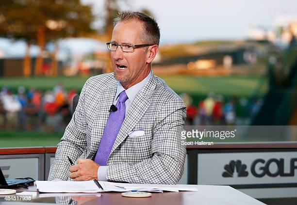 David Duval reports on the set of Golf Channel after the third round of the 2015 PGA Championship at Whistling Straits on August 15 2015 in Sheboygan...