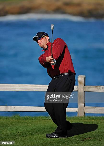 David Duval tees off on during the final round of the ATT Pebble Beach National ProAm at Pebble Beach Golf Links on February 14 2010 in Pebble Beach...
