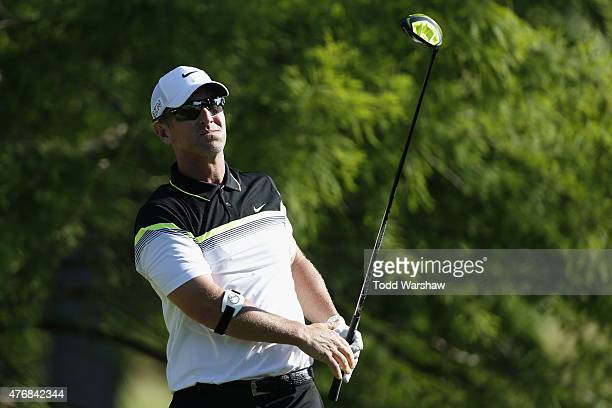 David Duval tees off on the 12th hole during round two of the FedEx St Jude Classic at TPC Southwind on June 12 2015 in Memphis Tennessee