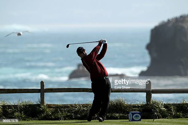 David Duval tees off on the 18th hole during the final round of the ATT Pebble Beach National ProAm at Pebble Beach Golf Links on February 14 2010 in...