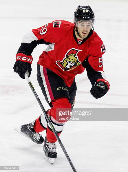 David Dziurzynski of the Ottawa Senators plays in the game against the Los Angeles Kings at Canadian Tire Centre on December 14 2015 in Ottawa...
