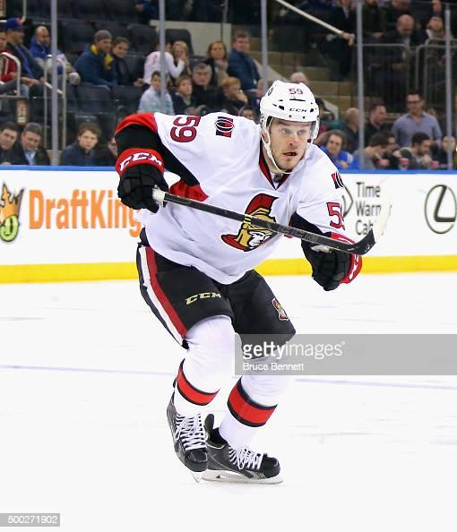 David Dziurzynski of the Ottawa Senators skates against the New York Rangers at Madison Square Garden on December 6 2015 in New York City The Rangers...