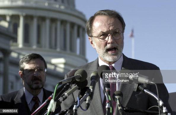 David E Bonior DMich and David R Obey DWis during a press conference on the GOP scuttling of the budget deal