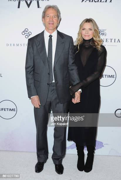 David E Kelley and Michelle Pfeiffer arrive at Variety's Power Of Women Los Angeles at the Beverly Wilshire Four Seasons Hotel on October 13 2017 in...