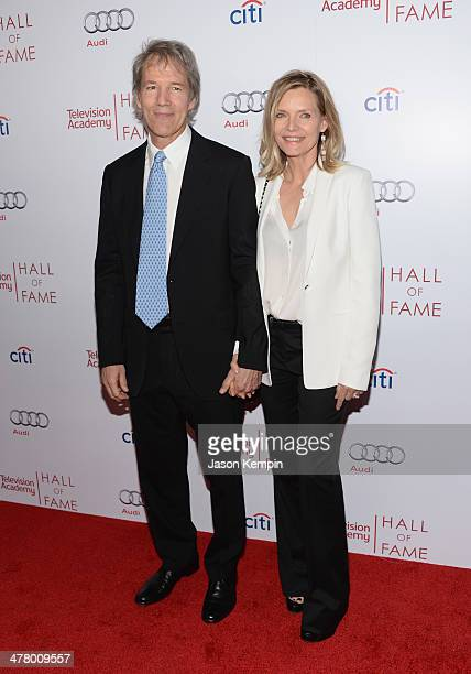 David E Kelley and Michelle Pfeiffer attend The Television Academy's 23rd Hall Of Fame Induction Gala at Regent Beverly Wilshire Hotel on March 11...