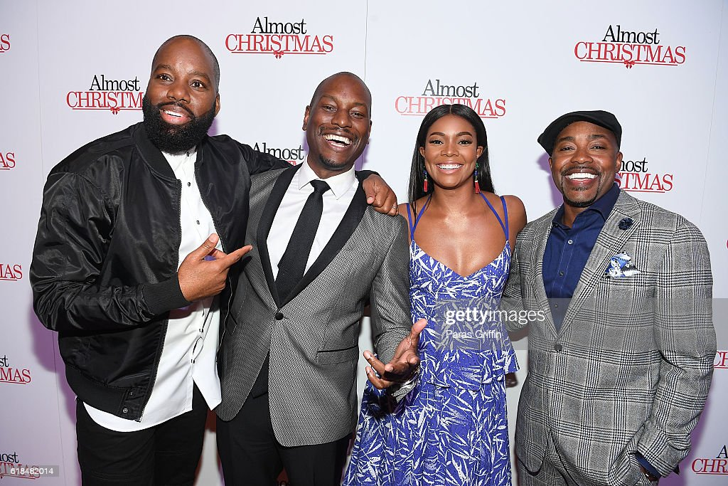 David E. Talbert, Tyrese Gibson, Gabrielle Union, and Will Packer attend 'Almost Christmas' Atlanta screening at Regal Cinemas Atlantic Station Stadium 16 on October 26, 2016 in Atlanta, Georgia.