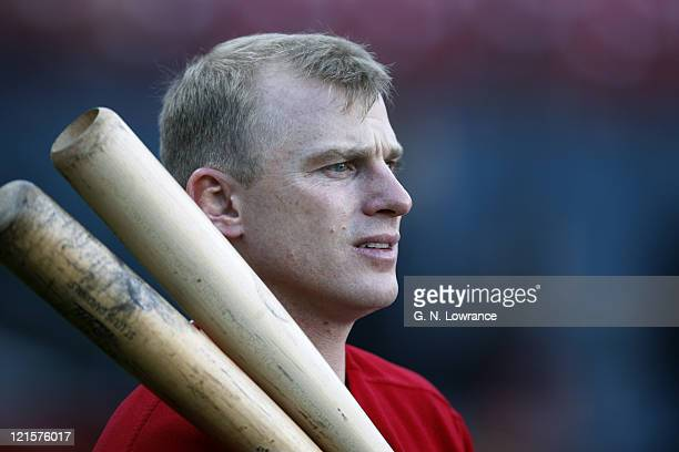 David Eckstein of the Cardinals waits to take batting practice prior to game 5 of the NLCS between the New York Mets and St Louis Cardinals at Busch...