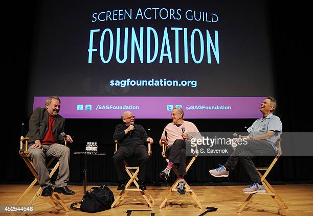 David Edelstein Wallace Shawn Andrew Gregory and Jonathan Demme speak during the SAG Foundation Presents A Conversations With 'A Master Builder' at...