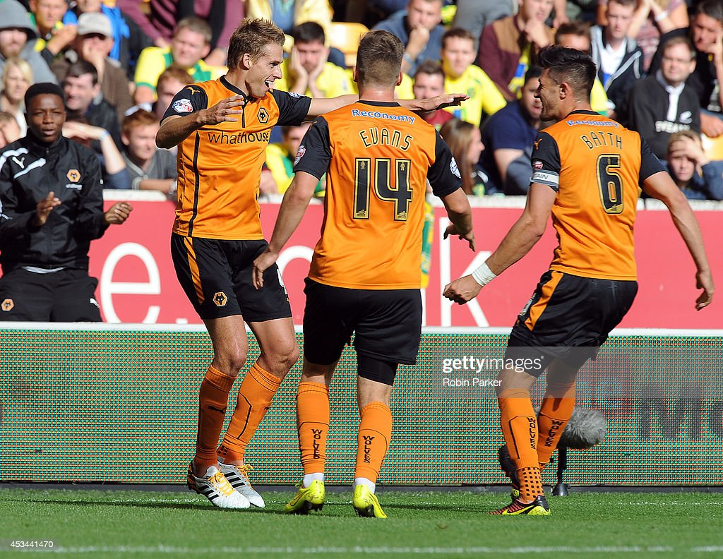David Edwards of Wolverhampton Wanderers celebrates scoring a goal during the Sky Bet Championship match between Wolverhampton Wanderers and Norwich City at the Molineux Stadium on August 10, 2014 in Wolverhampton, England.