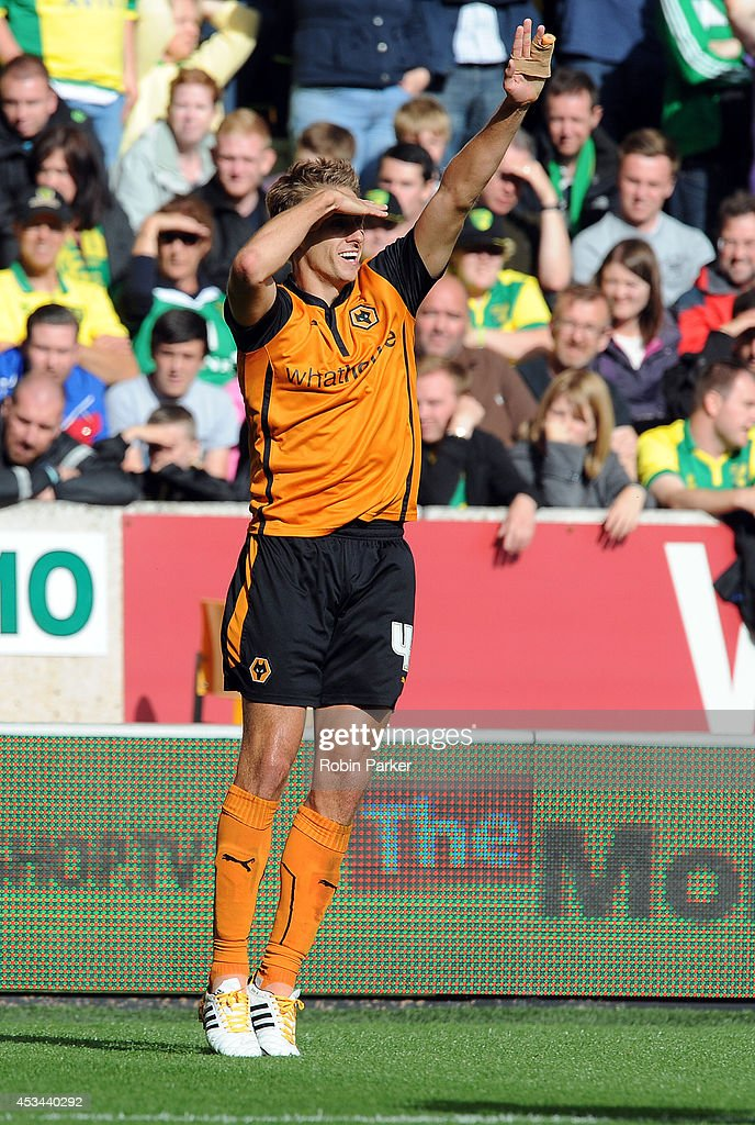 David Edwards of Wolverhampton Wanderers celebrates scoring goal to make it 1-0 during the Sky Bet Championship match between Wolverhampton Wanderers and Norwich City at the Molineux Stadium on August 10, 2014 in Wolverhampton, England.