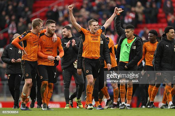 David Edwards of Wolverhampton Wanderers celebrates victory during The Emirates FA Cup Fourth Round between Liverpool and Wolverhampton Wanderers at...