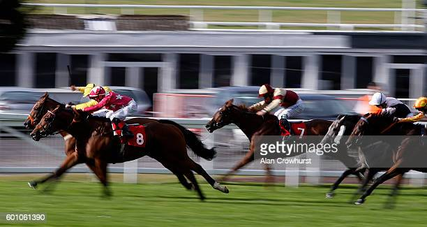 David Egan riding Cloudberry win The Inkerman London Handicap Stakes at Sandown Park on September 9 2016 in Esher England
