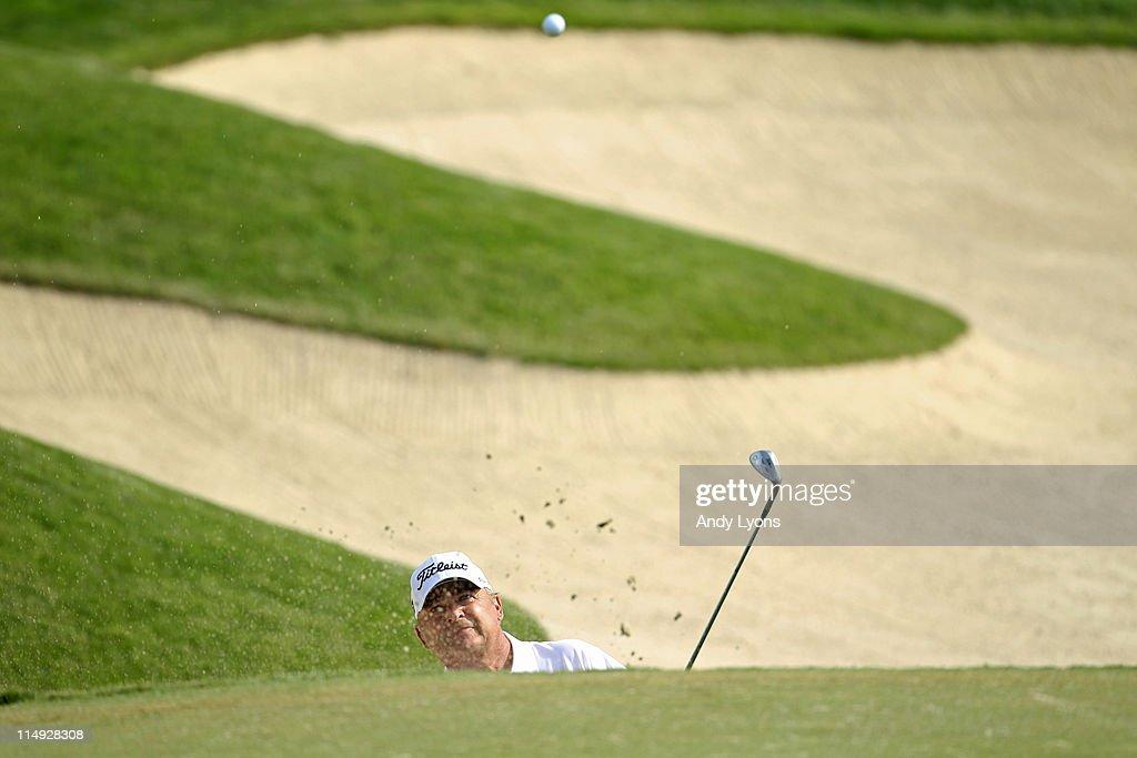 David Eger hits his third shot on the par 5 18th hole during the Senior PGA Championship presented by KitchenAid at Valhalla Golf Club on May 29 2011...