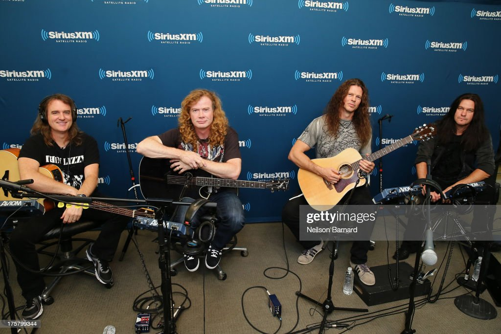 David Ellefson, Dave Mustaine, Chris Broderick and Shawn Drover of Megadeth visit SiriusXM Studios on August 8, 2013 in New York City.