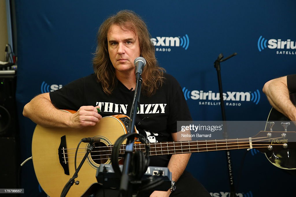 David Ellefson of Megadeth performs at SiriusXM Studios on August 8, 2013 in New York City.