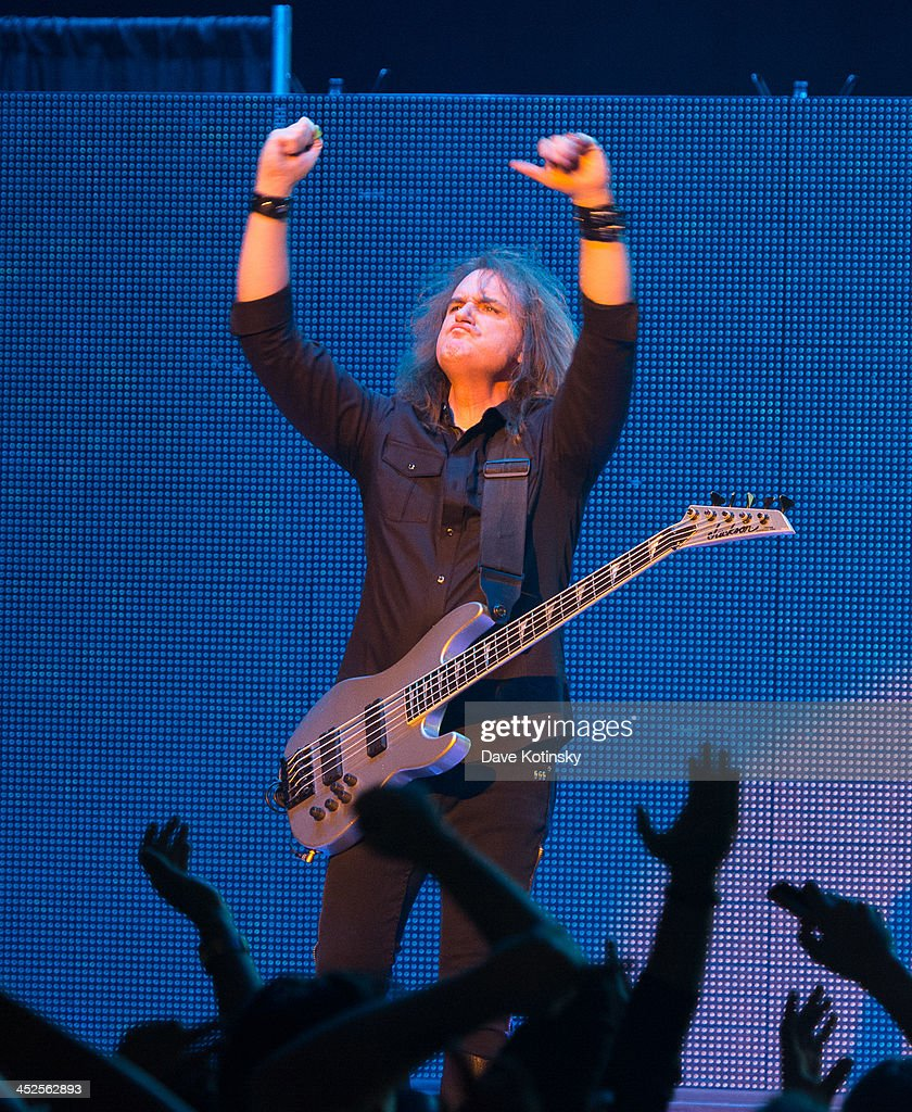 David Ellefson of Megadeth performs at The Wellmont Theatre on November 29, 2013 in Montclair, New Jersey.