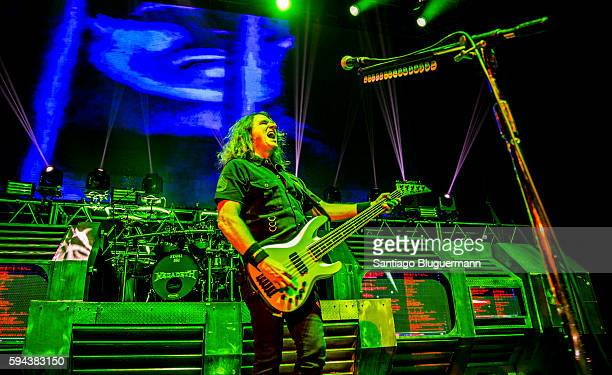 David Ellefson performs during Megadeth as part of Dystopia World Tour at Luna Park on August 22 2016 in Buenos Aires Argentina
