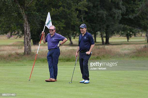 David Elliott and Nick Williams of St Endoc Golf Club on the 17th green during the PGA ProCaptain South West Qualifier at Broadstone Golf Club on...