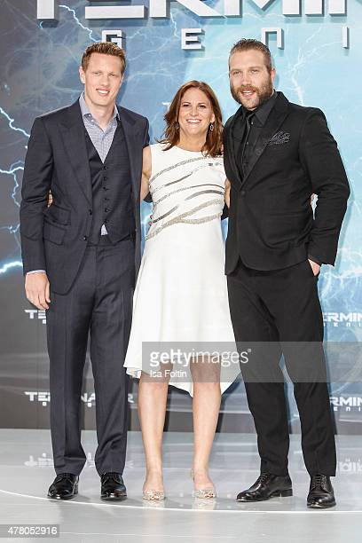 David Ellison Dana Goldberg and Jai Courtney attend the European Premiere of 'Terminator Genisys' at the CineStar Sony Center on June 21 2015 in...