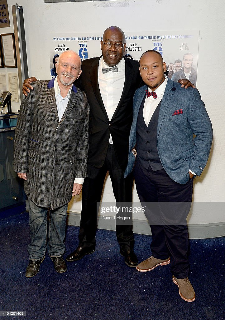 <a gi-track='captionPersonalityLinkClicked' href=/galleries/search?phrase=David+Essex&family=editorial&specificpeople=239064 ng-click='$event.stopPropagation()'>David Essex</a>, Cass Pennant and Dorian Simpson attend the UK Premiere of 'The Guvnors' at Odeon Covent Garden on August 27, 2014 in London, England.