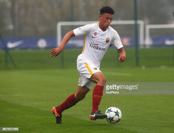 David Eugene Bouah of AS Roma Under 19s during UEFA YouthLeague match between Chelsea Under 19s against AS Roma Under 19s at Cobham Training Ground...