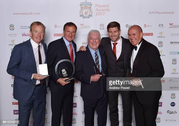 David Fairclough Phil Thompson Ian Callaghan Phil Neal ex players of Liverpool with Steven Gerrard after winning the Outstanding Team Achievement...