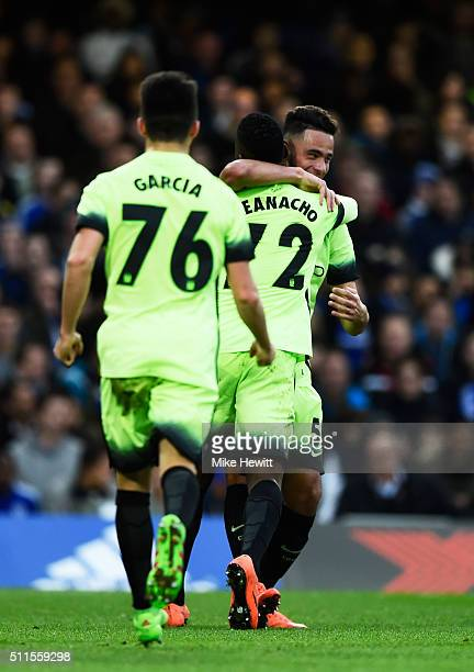 David Faupala of Manchester City celebrates with teammates after scoring a goal to level the score at 11 during The Emirates FA Cup fifth round match...