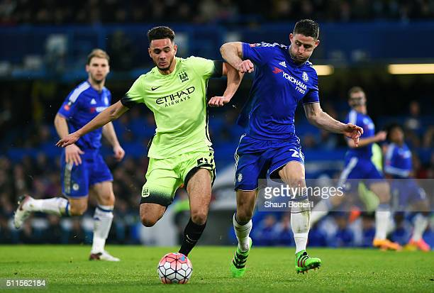David Faupala of Manchester City is challenged by Gary Cahill of Chelsea during The Emirates FA Cup fifth round match between Chelsea and Manchester...