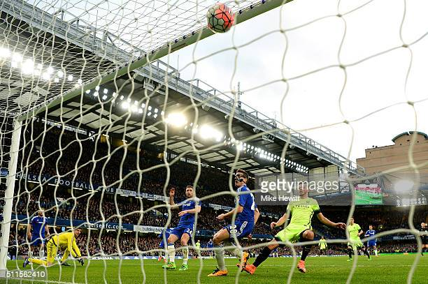David Faupala of Manchester City scores a goal to level the score at 11 during The Emirates FA Cup fifth round match between Chelsea and Manchester...