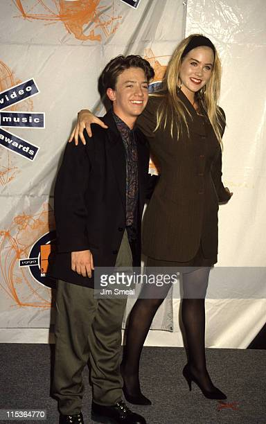 David Faustino and Christina Applegate during 1990 MTV Video Music Awards at Universal Amphitheater in Los Angeles California United States