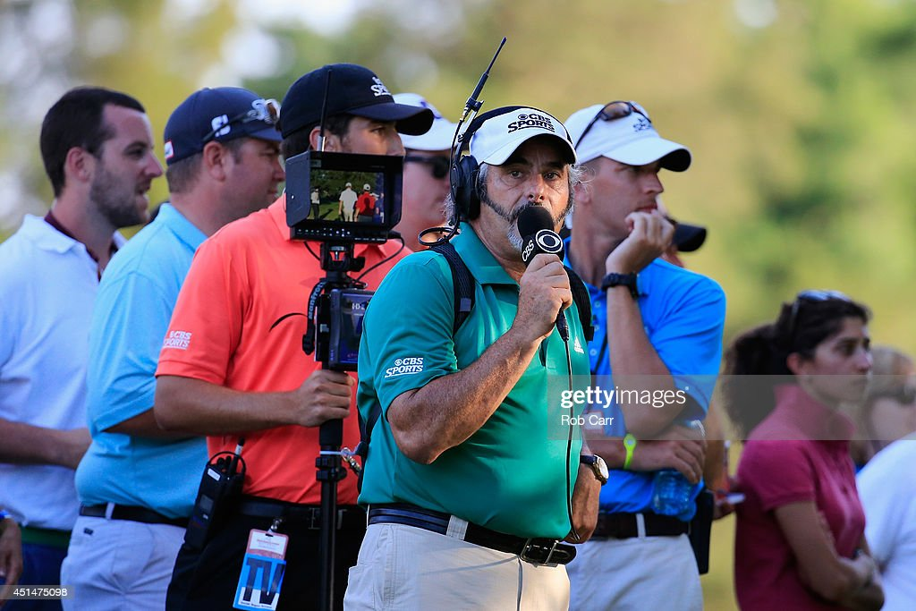 David Feherty broadcasts during the final round of the Quicken Loans National at Congressional Country Club on June 29 2014 in Bethesda Maryland