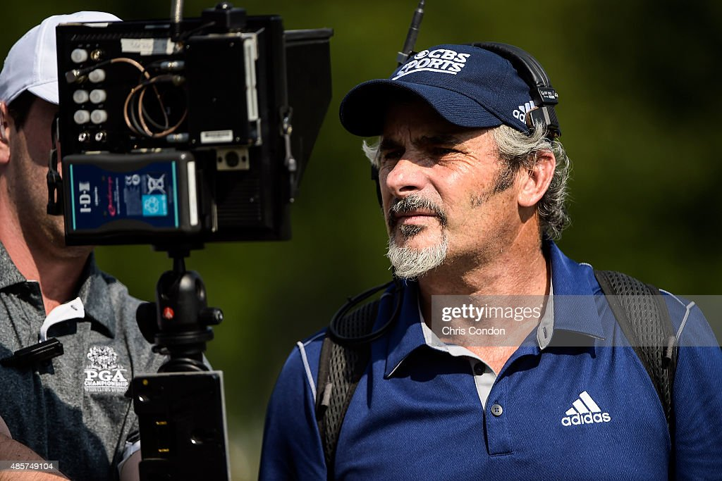 David Feherty broadcasts live coverage for CBS Sports during the third round of The Barclays at Plainfield Country Club on August 29 2015 in Edison...