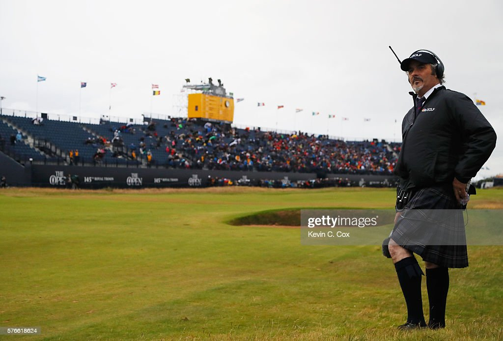 David Feherty looks on during the third round on day three of the 145th Open Championship at Royal Troon on July 16 2016 in Troon Scotland
