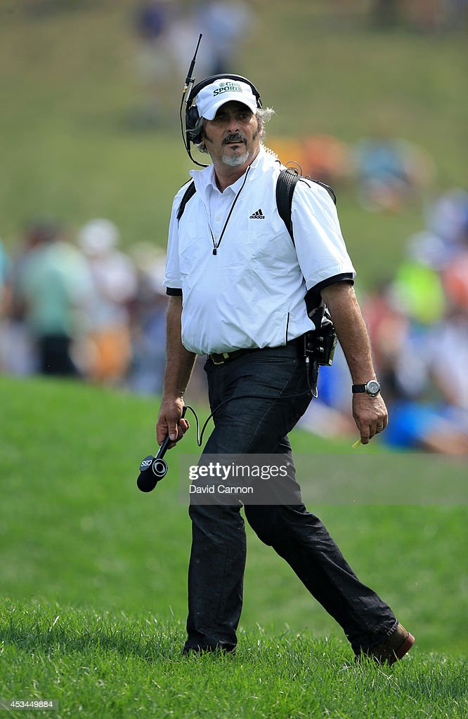 David Feherty of CBS Sports looks on during the final round of the 96th PGA Championship at Valhalla Golf Club on August 10 2014 in Louisville...