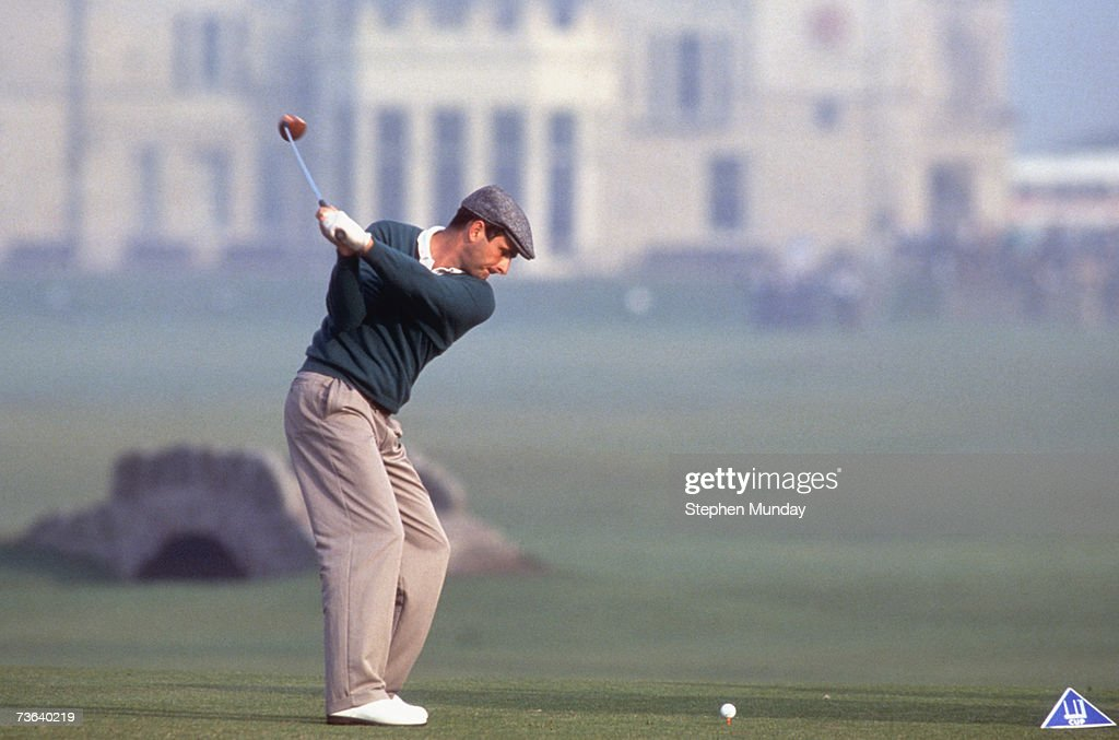 David Feherty of Ireland on the 18th tee during the Alfred Dunhill Cup tournament at St Andrews Scotland 1990 Feherty and team mates Philip Walton...